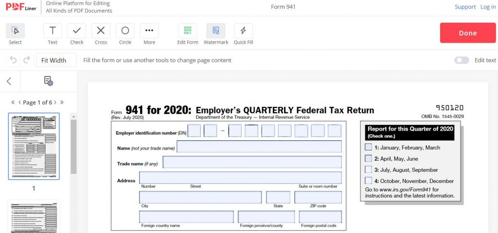 Fillable 941 Form